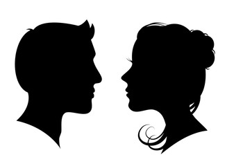 Man and woman silhouette face to face – vector for stock