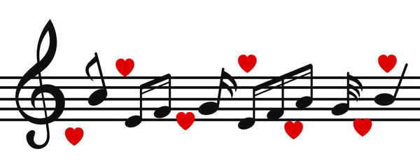 Music notes background, musical notes with hearts – stock vector