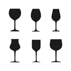 Set wineglass icon, logo, sign, emblem – stock vector