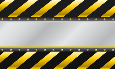 Construction background, warning yellow sign stop - stock vector