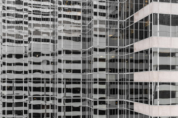 Mirrored building with lines
