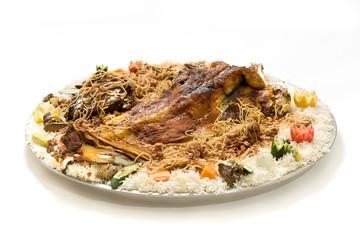 Kabsa with cooked meats - Mandi - Kabsah - Mandi Kabsah Rice with Meats and Vegetables