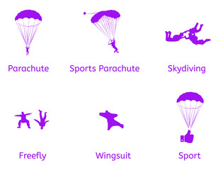 Skydiving vector flat icons