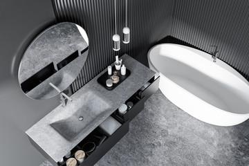 Round mirror bathroom top view