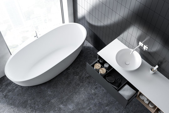Top view of a gray bathroom