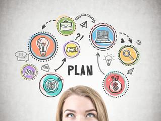 Blonde woman head, business plan