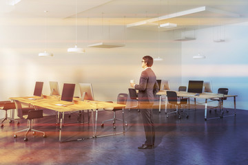Wooden tables modern company office, businessman