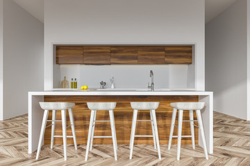 Wooden kitchen bar with stools