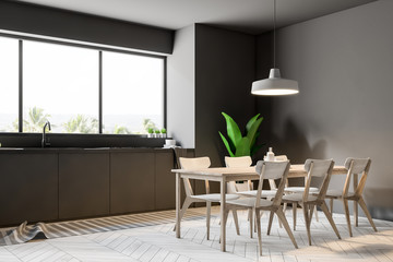 Luxury gray dining room and kitchen