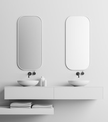 Double sink, white wall close up