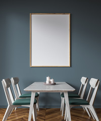 Green chairs dining room inteior, poster side view