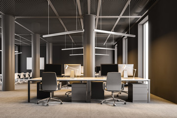 Industrial style brown office interior