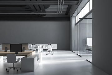 Dark gray industrial style company office