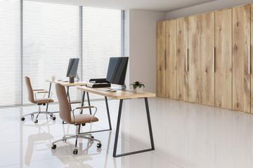 Wooden bookcase Scandinavian office side view