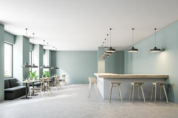 Green modern restaurant interior