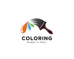 Brush coloring paint logo