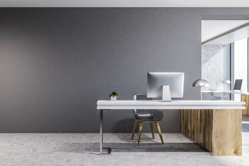 Gray and wooden luxury office interior, mock up Wall mural