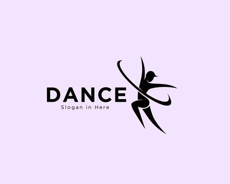 Female dance art logo, ballet dance class logo