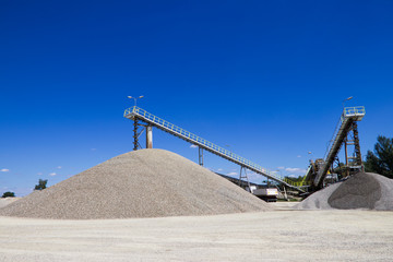 gravel extraction, mine industry, heavy conveyors