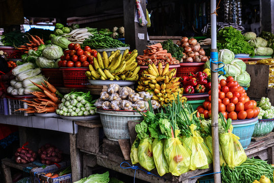 Fruits and vegetable at local asian market