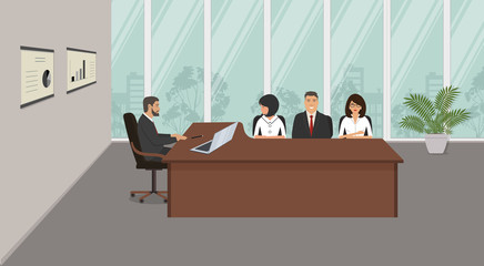 Office workers during the meeting. Young women and men are sitting at the desk in the office. There is a brown furniture, black chairs, diagrams in the picture. Vector illustration