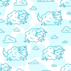 Insomnia Good night sleep pattern vector illustration of Night sky cute fluffy cartoon sheep animals pattern children design on white background, wolf in sheep clothes