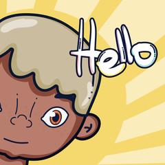 Boy saying hello cartoon