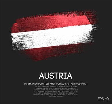 Austria Flag Made of Glitter Sparkle Brush Paint Vector
