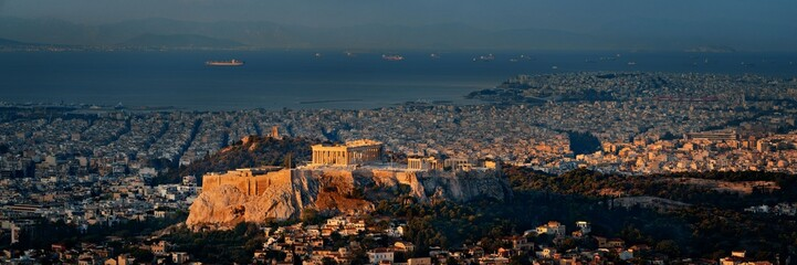 Wall Mural - Athens skyline at sunrise from Mt Lykavitos panorama