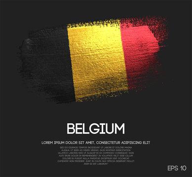 Belgium Flag Made of Glitter Sparkle Brush Paint Vector