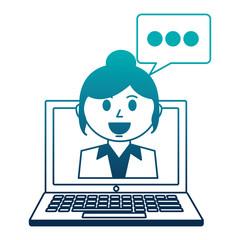 business woman employee chat bubble laptop