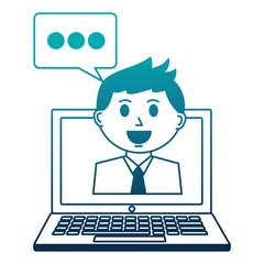 business man employee chat bubble laptop