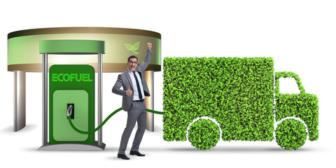 Man in ecofuel concept for delivery vehicles
