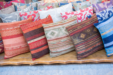 Decorative Colorful oriental pillows with traditional patterns