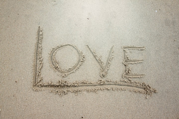 Write the word love on the sand.