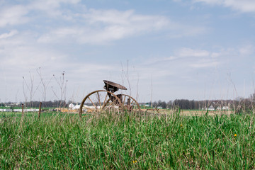 Amish Country Plow In Field
