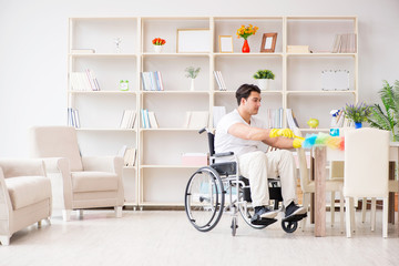 Disabled cleaner doing chores at home