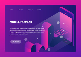 Isometric Online Payment Neon Landing Page