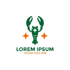 Unique lobster logo template. sea food. vector. editable. simple shape. minimalist color. memorable