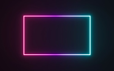 Neon frame sign in the shape of a rectangle. 3d illustration Wall mural