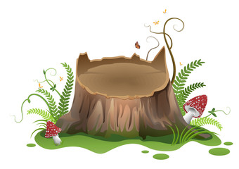 Wooden vector cartoon stump and amanita mushrooms