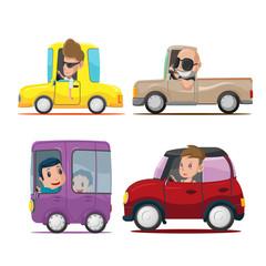 Aluminium Prints Cartoon cars Cars Driver Cartoon Collection Set Vector