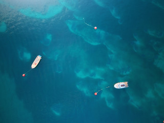Boat in sea. Aerial view.