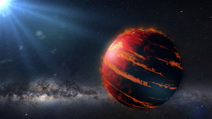 hot Jupiter class exoplanet, gas giant planet lit by an alien star