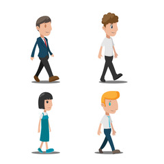 People Cartoon Walk Collection Set Vector