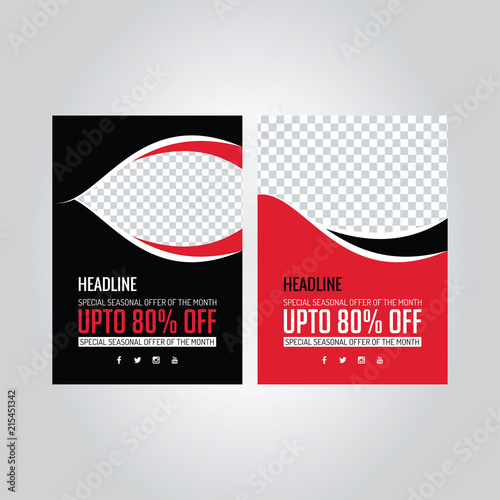 A4 Poster Black And Red Brochure Template Banner Design Vector