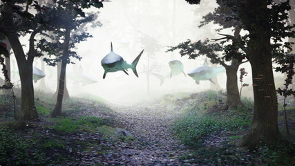 sharks swimming in forest, group of sharks flying in foggy fantasy landscape