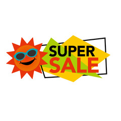 Super sale illustration with smiling sun