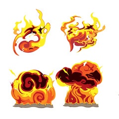 Fire Bomb Effect Element Set Vector