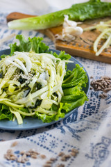 Zucchini spaghetti, raw vegan pasta with avocado sauce and salad leaves on plate. Vegan dinner, vegetarian lunch, healthy food